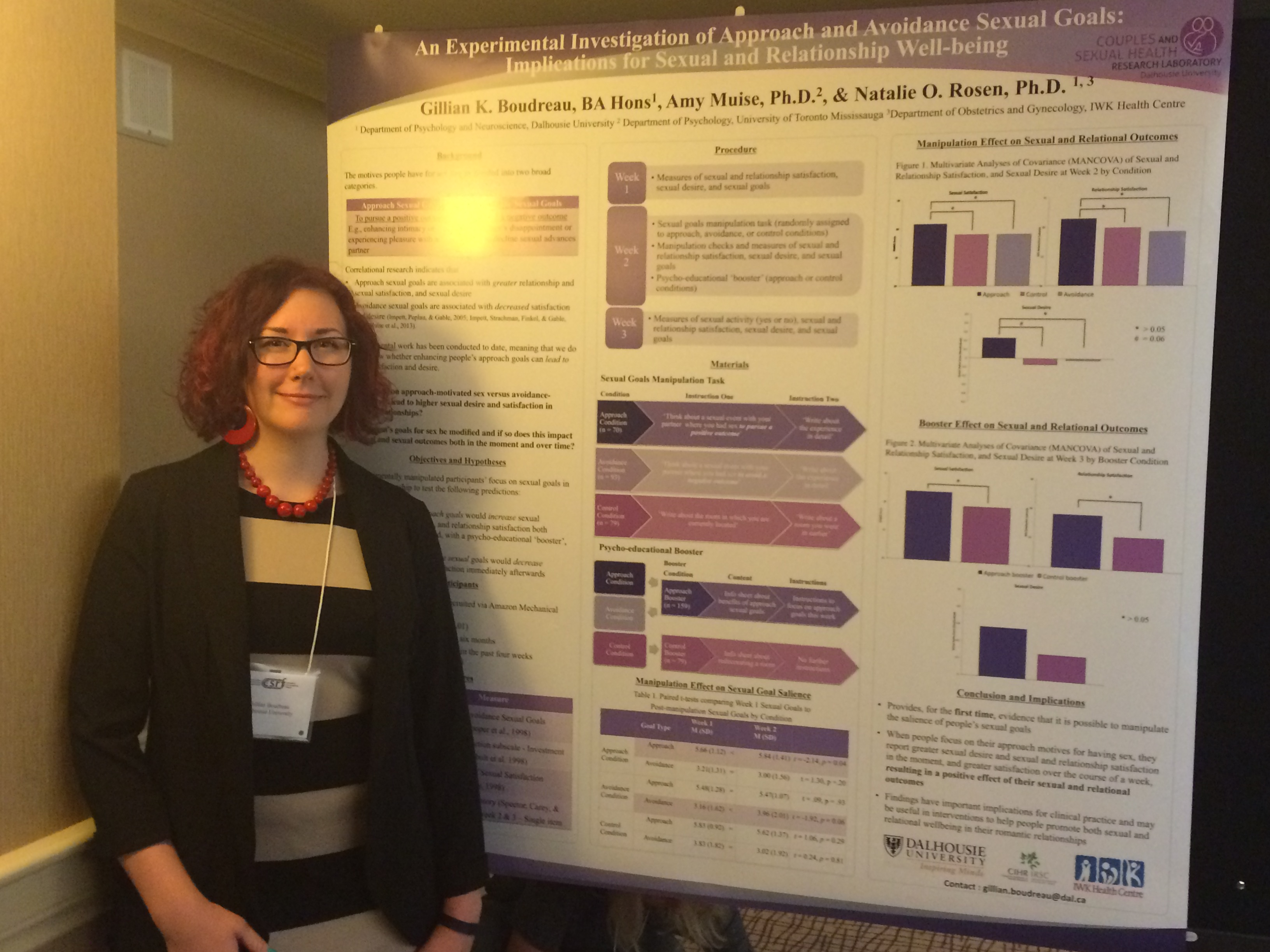 Gillian Boudreau with the poster she presented at the Canadian Sex Research Forum's Annual Meeting, 2015 in Kelowna, BC