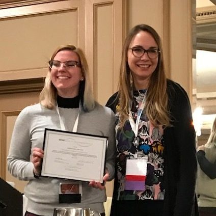 Kat Merwin Accepting the Award for her Poster Presentation at SSTAR 2018